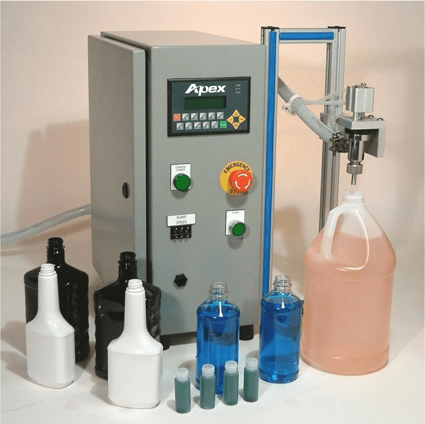 Semi Automatic Tabletop Pump Filler and Bottles