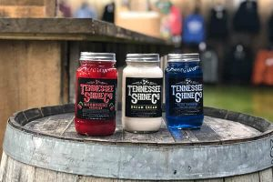 A Barrel holds three variants of Tennessee Shine Co Products